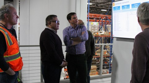 Rep. Salud Carbajal visits Direct Relief's headquarters in Santa Barbara on Feb. 19, 2019, where CEO Thomas Tighe and other Direct Relief staff briefed the Congressman on the organization's work. (Lara Cooper/Direct Relief)