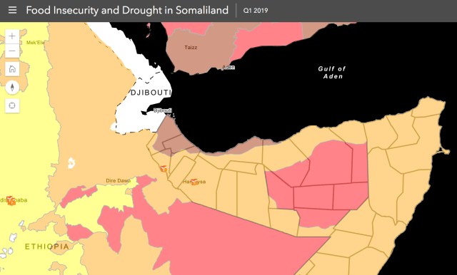 Click on the map above to see which regions are impacted by food scarcity and drought in the Horn of Africa. Daryeel Maternity Hospital is located in a region currently classified as in crisis to food scarcity and drought.
