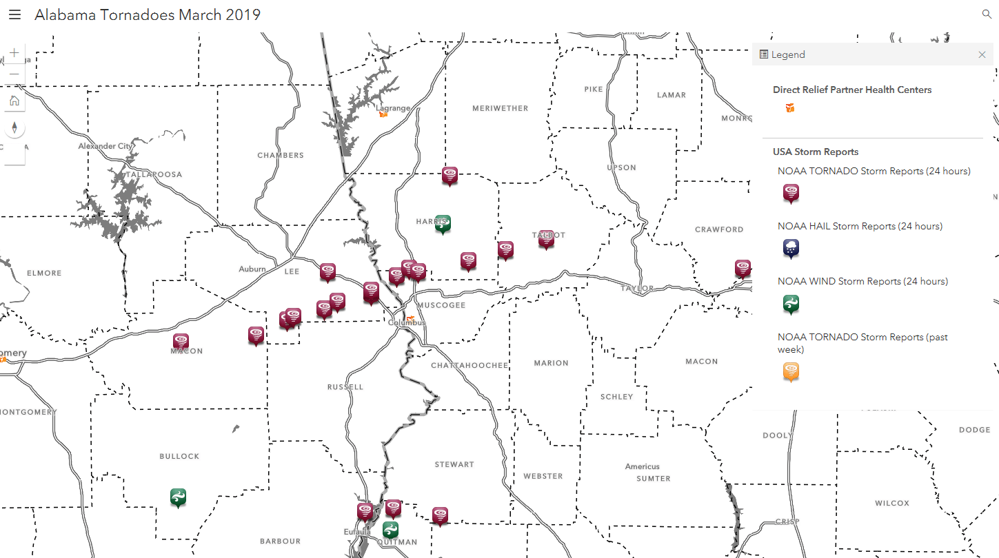 The map above shows where Sunday's storms raced through portions of Alabama. Direct Relief is in communication with healthcare facilities in storm-impacted communities and has offered medical assistance.