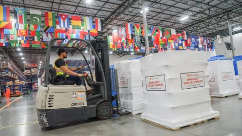 IV solution, antibiotics and oral rehydration salts, all used to help patients treat and recover from cholera, are staged for shipment on Friday in Direct Relief's warehouse. The shipment is bound for Sofala Province in Mozambique, where the supplies will be distributed to health facilities working to treat patients with cholera. (Lara Cooper/Direct Relief)