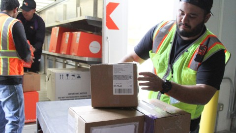 Shipments of naloxone, which reverses opioid overdoses, left Direct Relief's warehouse on March 21, 2019, bound for Corparacion SANOS in Caguas, Puerto Rico. The communituy health center not only provides primary care, but also mental health and addiction treatment services and is working to combat opioid overdose on the island. Also pictured are shipments of naloxone to the Camuy Health Services, Centro de Servicios Primarios and NeoMed Center. Alcohol swabs, syringes and other supplies were also included in the shipments. (Lara Cooper/Direct Relief)