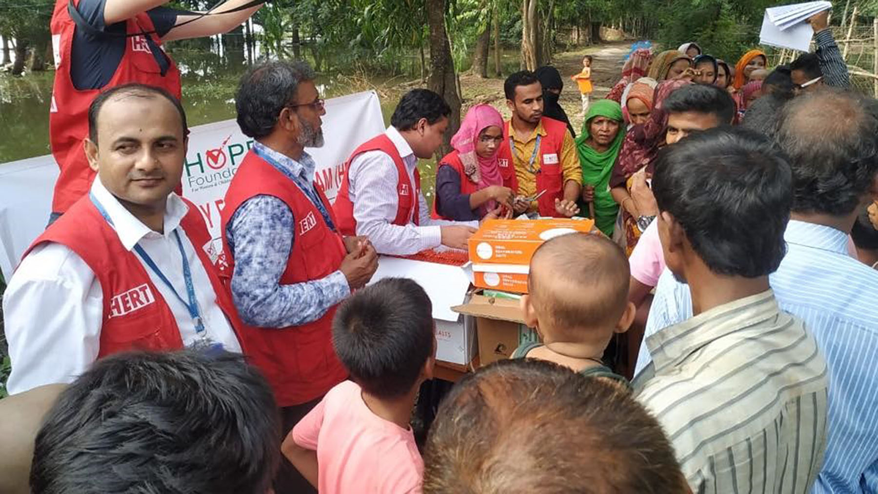 Emergency response teams from HOPE Hospital in Cox's Bazar, Bangladesh, conduct outreach to Rohingya patients living in camps nearby. (Photo courtesy of HOPE Foundation for Women and Children)
