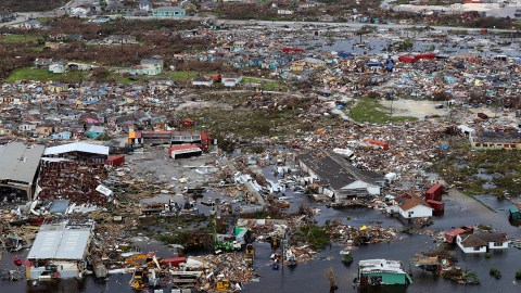 Destruction on Great Abaco, one of the first islands in the Bahamas to be hit by Hurricane Dorian with Category 5 winds. Direct Relief has medicines en route to Abaco to equip responding medical teams. (Photo courtesy of the United Kingdom Ministry of Defense)