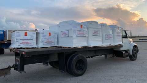 In the weeks following Hurricane Dorian, emergency medicines arrived in the Bahamas bound for health facilities in the country. Medical aid has continued since the storm made landfall, including medical shipments to equip ambulances that were brought to the islands to serve patients. (Direct Relief photo)