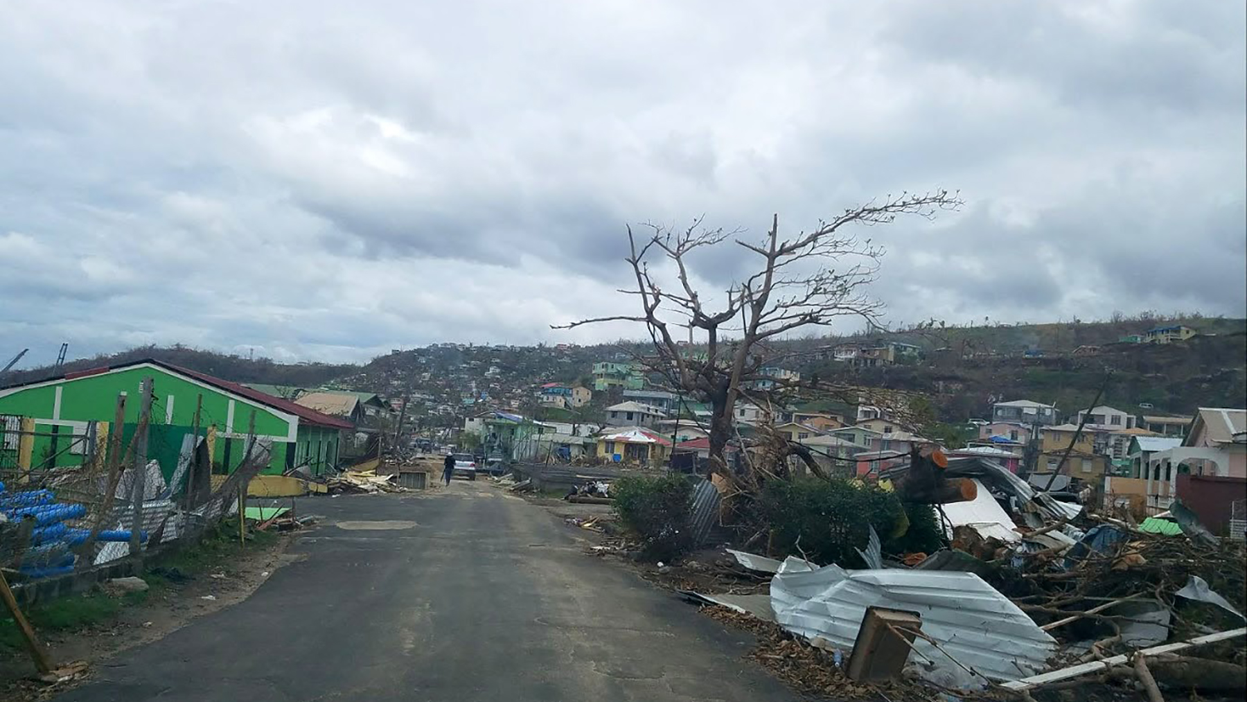 Over 95 percent of the buildings and infrastructure on the island of Dominica were destroyed or damaged by Hurricane Maria. (Andrew MacCalla/Direct Relief)