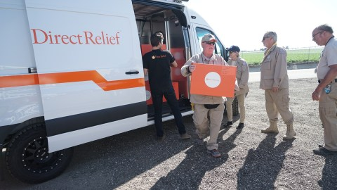 Direct Relief staff deliver 50 Emergency Medical Backpacks to the Ventura County Medical Reserve Corps. The group of volunteer medical reservists provide care during the event of a disaster, and have activated during many wildfires in Ventura County. (Lara Cooper/Direct Relief)