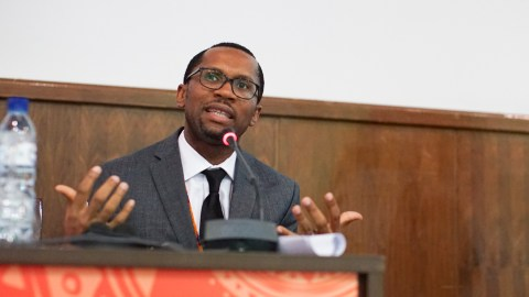 "Dr. Nmazuo ""Maz"" Ozuah speaks on a panel at the AORTIC Conference in Maputo."