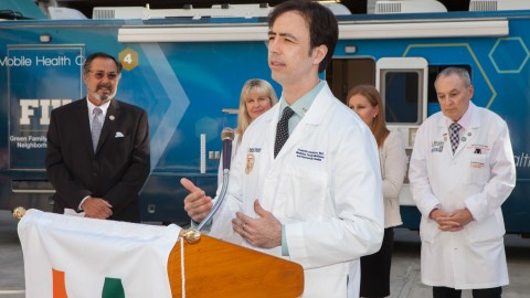 Dr. Fred Anderson speaks at the FIU- MAVEN launch event. (Photo Courtesy of The MAVEN Project and FIU Mobile Health Center)