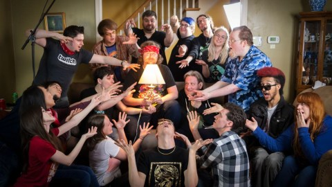 """""""ProtonJon"""" (center, holding lamp) at The Runaway Guys Colosseum - Charity Marathon for Direct Relief in 2018. (Direct Relief)"""
