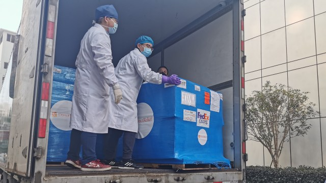 A Direct Relief shipment coordinated by Wuhan United arrives in China. (Photo courtesy of Wuhan United)