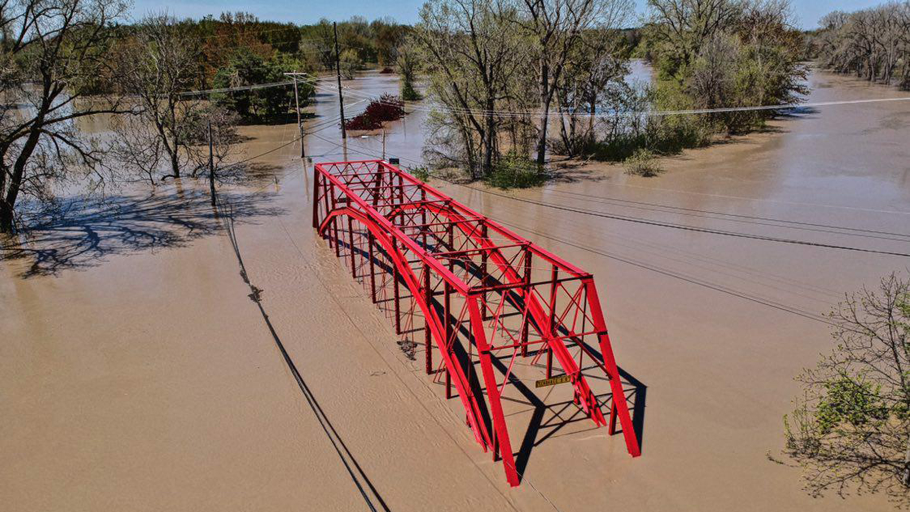 A bridge flooded after heavy rains in Midland, Michigan. (Photo courtesy of the city of Midland)