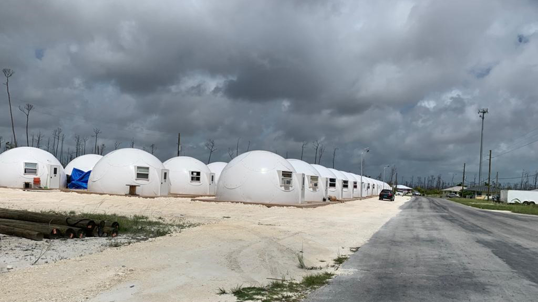Temporary shelters on Great Abaco. (Photo courtesy of Dr. Jim Hull)