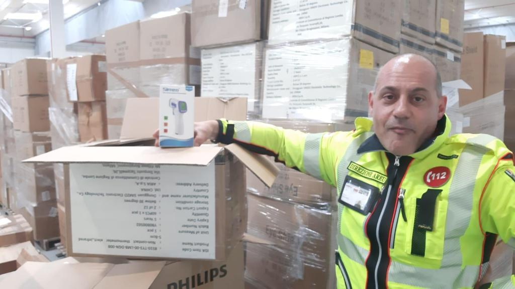 Supplies for Covid-19 treatment, including infrared thermometers (pictured) arriving arrive in Milan, for distribution to hospitals throughout the Lombardy region. (Courtesy photo)