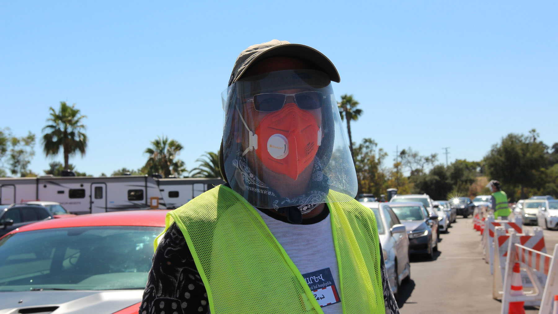 A CORE volunteer at Dodger Stadium on July 16. (Noah Smith/DIrect Relief)