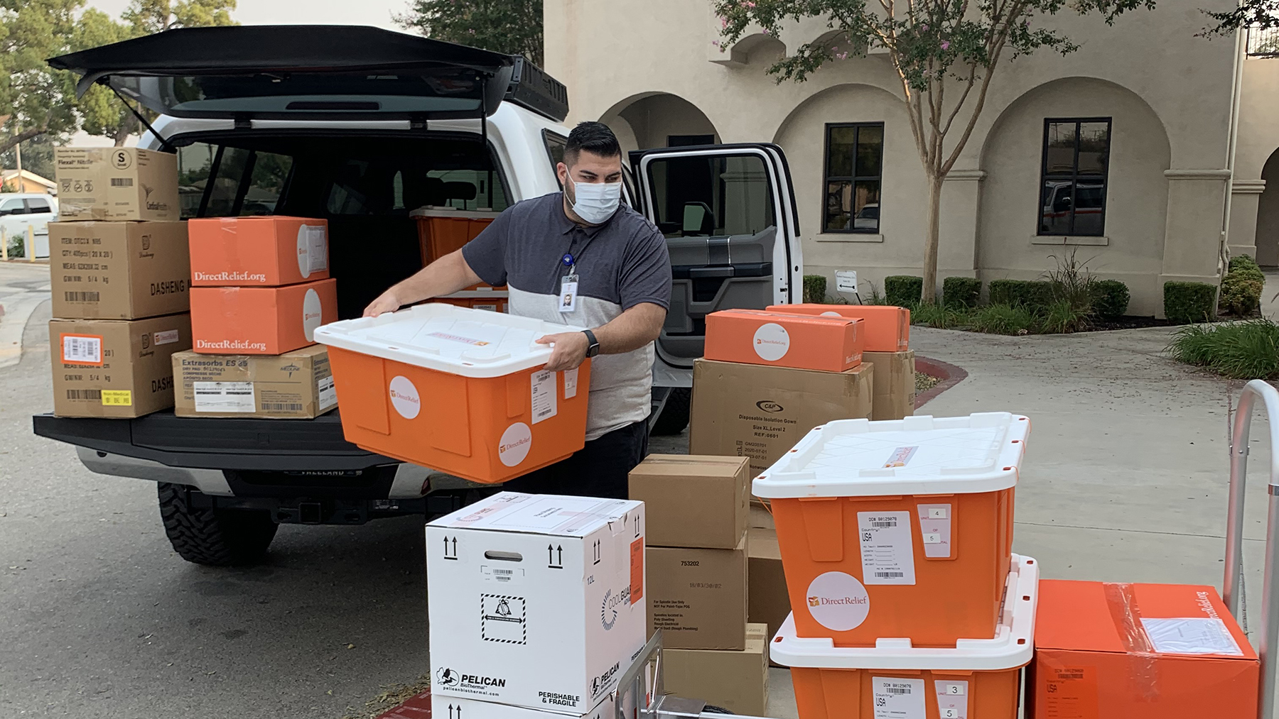 Requested medical supplies arrived at the Chino Valley Community Health Center in San Bernardino County, California, on Sept. 11, 2020. The El Dorado Fire is impacting air quality in the region, and supplies delivered to the health center included respiratory medicines, opthalmic supplies and other essentials often requested during fires. (Chris Alleway/Direct Relief)