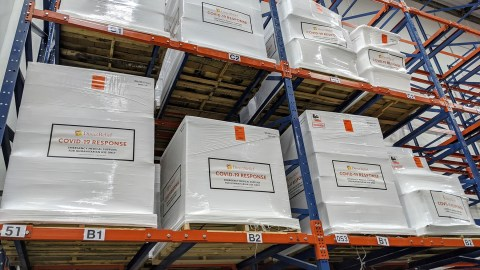Shipments of medical aid are prepped for shipment this summer to countries in the Horn of Africa. (Tony Morain/Direct Relief)