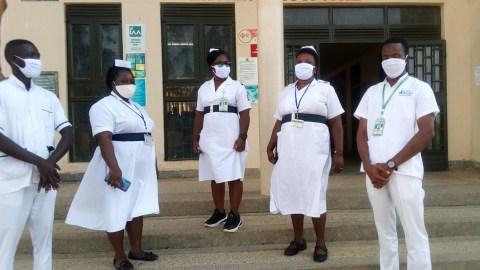 Nursing students at Kampala Int'l University make masks.