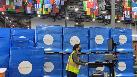 Pallets of medical aid are staged for shipment Thursday, February 25, 2021. Covid-19 response continues for the organization, and shipments of PPE, requested medications, oxygen concentrators and other items depart daily. (Tony Morain/Direct Relief)
