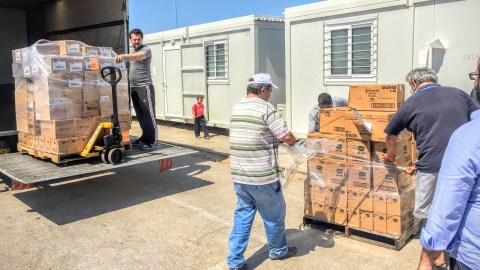 Vaseline, lotion, wound care supplies, personal hygiene supplies, blankets, and other essential items arrive in Greece in 2016, to be distributed to major refugee camps around Athens.