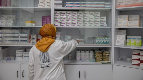 The pharmacist of the Ibad Al Rahman Association in Beirut, which in partnership with Anera and Direct Relief, aims to provide various social services to the community by offering health and medication support. (Photo by Francesca Volpi for Direct Relief)