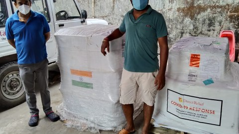 Medical aid arrives for nonprofit group, Calcutta Rescue, which operates a charitable pharmacy and has been responding to the Covid-19 surge in the country. (Courtesy photo)