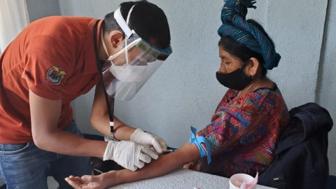 A health provider at Hospitalito Atitlan in Santiago, Atitlan, Guatemala, takes a patient's bloodwork in Jan. 2021. Direct Relief provided the hospital with diabetes management supplies and essential medicines over the past week. (Courtesy photo)