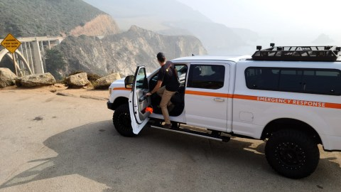 Emergency supplies and medications from Direct Relief on Sept. 14, 2020, en route to a wildfire base camp in Big Sur, California, where firefighters responded to wildfires in the northern part of the state. (Andrew MacCalla/Direct Relief)
