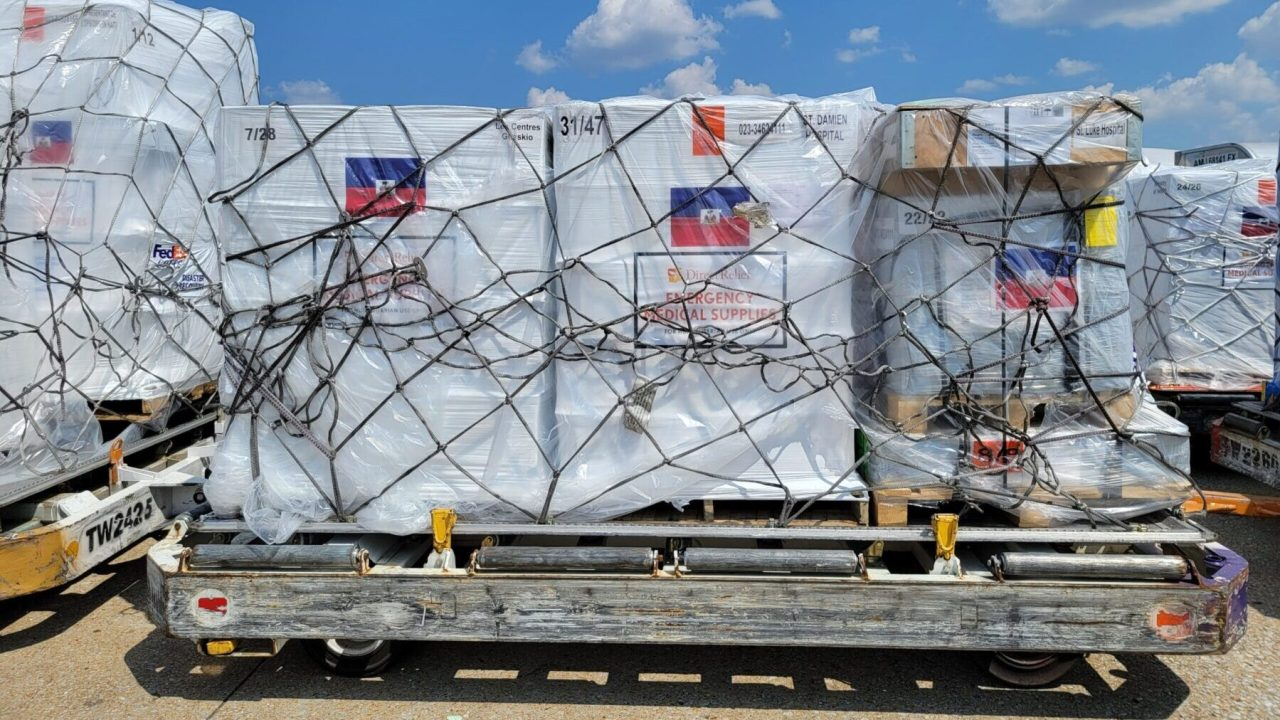 Pallets of emergency medical aid from Direct Relief are staged at the FedEx facility in Memphis, Tennessee, for Haiti. (Photo: FedEx)