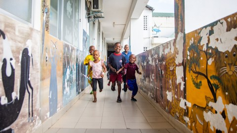 20th May 2021 - Muhimbili National Hospital, Paediatric Block, Dar es Salaam, Tanzania - Young cancer patients playing in the corridors.
