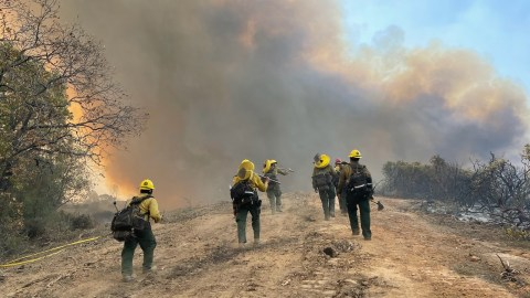 Fire crews respond to the Caldor Fire in Northern California on Aug. 30, 2021. (U.S. Forest Service photo)