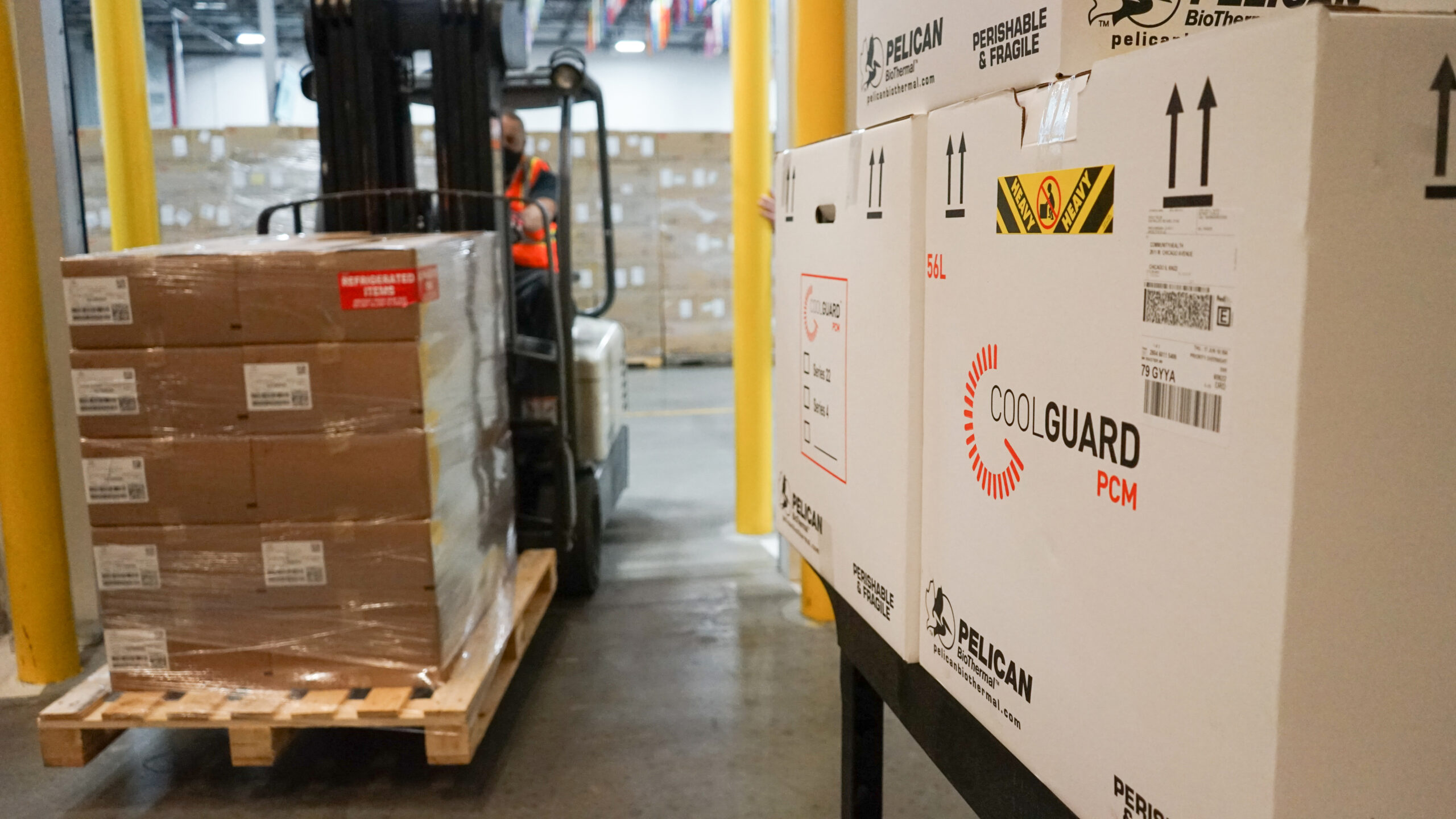 Temperature sensitive therapies are staged at Direct Relief's warehouse. (Lara Cooper/Direct Relief)