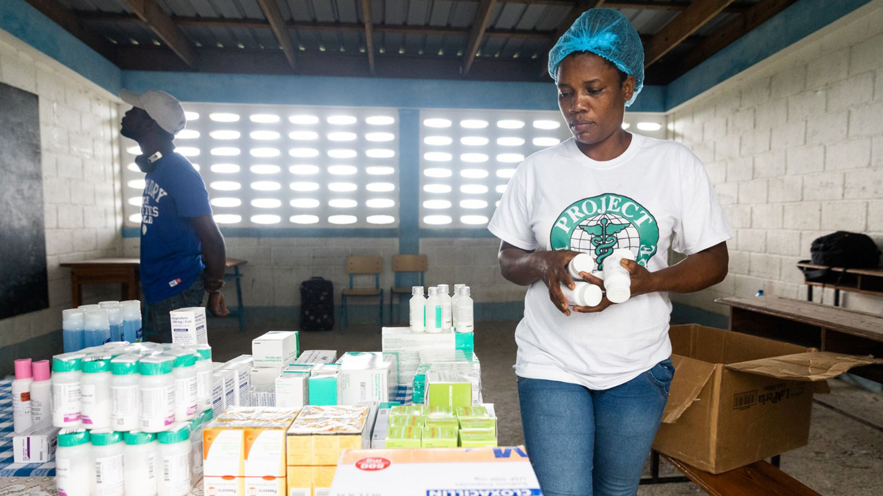 Project MediShare staff organize medical donations from Direct Relief during medical outreach to communities in Haiti recovering from the 7.2-magnitude earthquake that occurred last month. (Project MediShare photo)