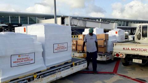 Nearly 8,000 pounds of essential medical aid from Direct Relief, including items like antibiotics, surgical and wound care products, arrived to assist St. Maarten Medical Center, an organization treating patients affected by hurricanes.