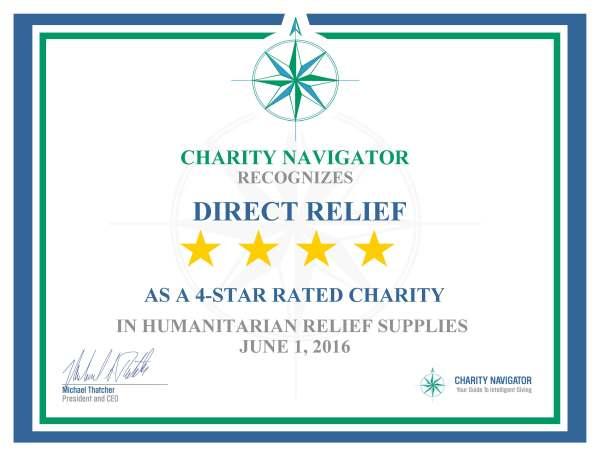 Charity Navigator 4-Star Certificate