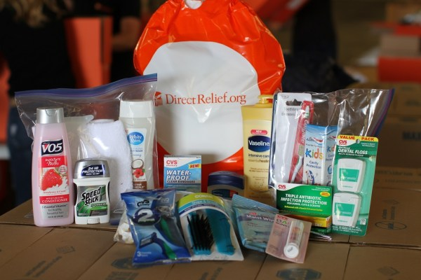 Emergency family kits were ready to send thanks to donations from CVS Health and Vaseline.