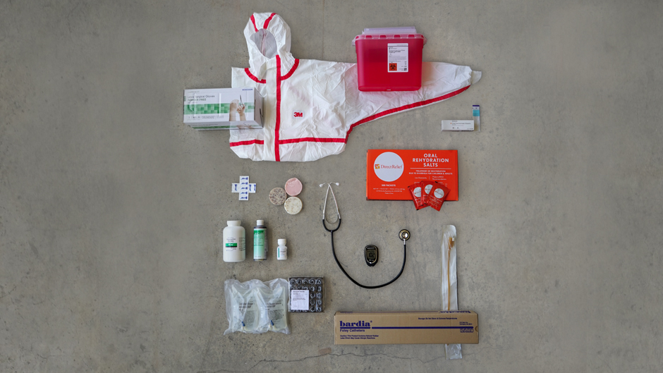 Contents from the Direct Relief Cholera Kit