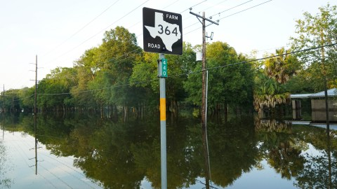 Roads outside of Beaumont, Texas, were several feet underwater. (Lara Cooper/Direct Relief)