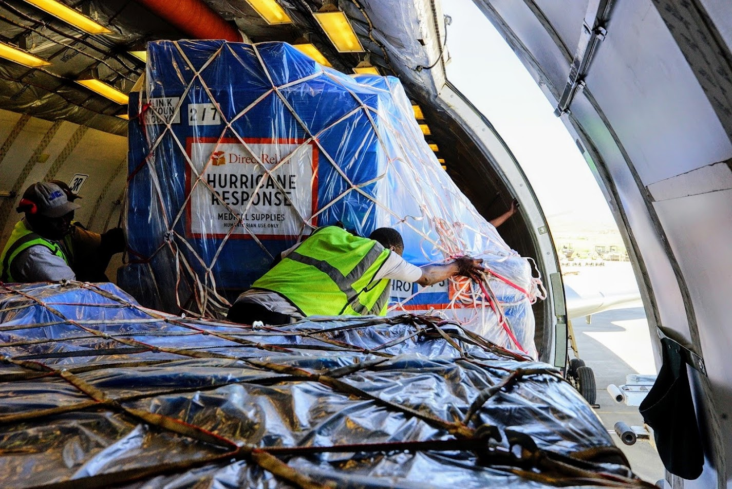 Medical aid is loaded onto a plane bound for Haiti after Hurricane Matthew devastated portions of the island in 2016. (Direct Relief photo)