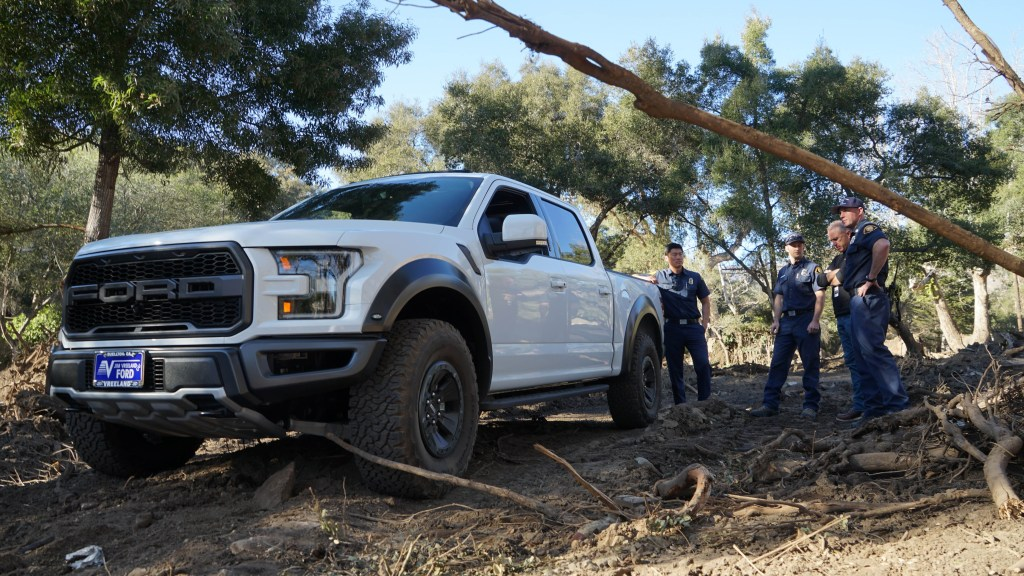 On Friday, January 26 Direct Relief delivered a Ford Raptor to Santa Barbara County Fire to aid mudslide recovery efforts in Montecito. In addition to the four-wheel drive truck, six utility vehicles have been donated to help continue search and rescue operations in extreme terrain. (Tony Morain/Direct Relief)