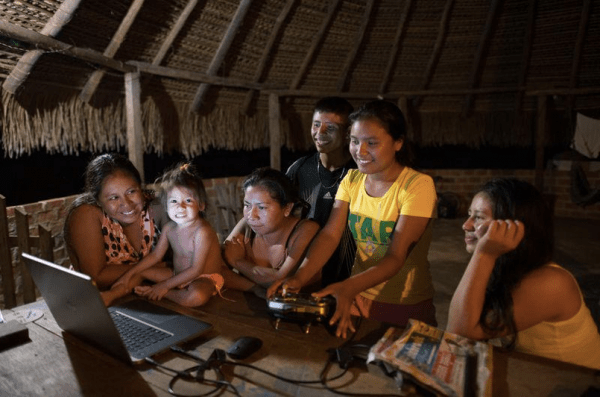 In Guyana, the indigenous Wapichana community built a drone from scratch to monitor flooding and natural hazards to their region. Photo courtesy of Digital Democracy.