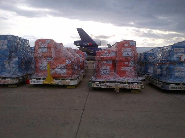 Pallets full of relief supplies for Nepal earthquake survivors readied at Direct Relief's headquarters are now headed to Kathmandu via FedEx.