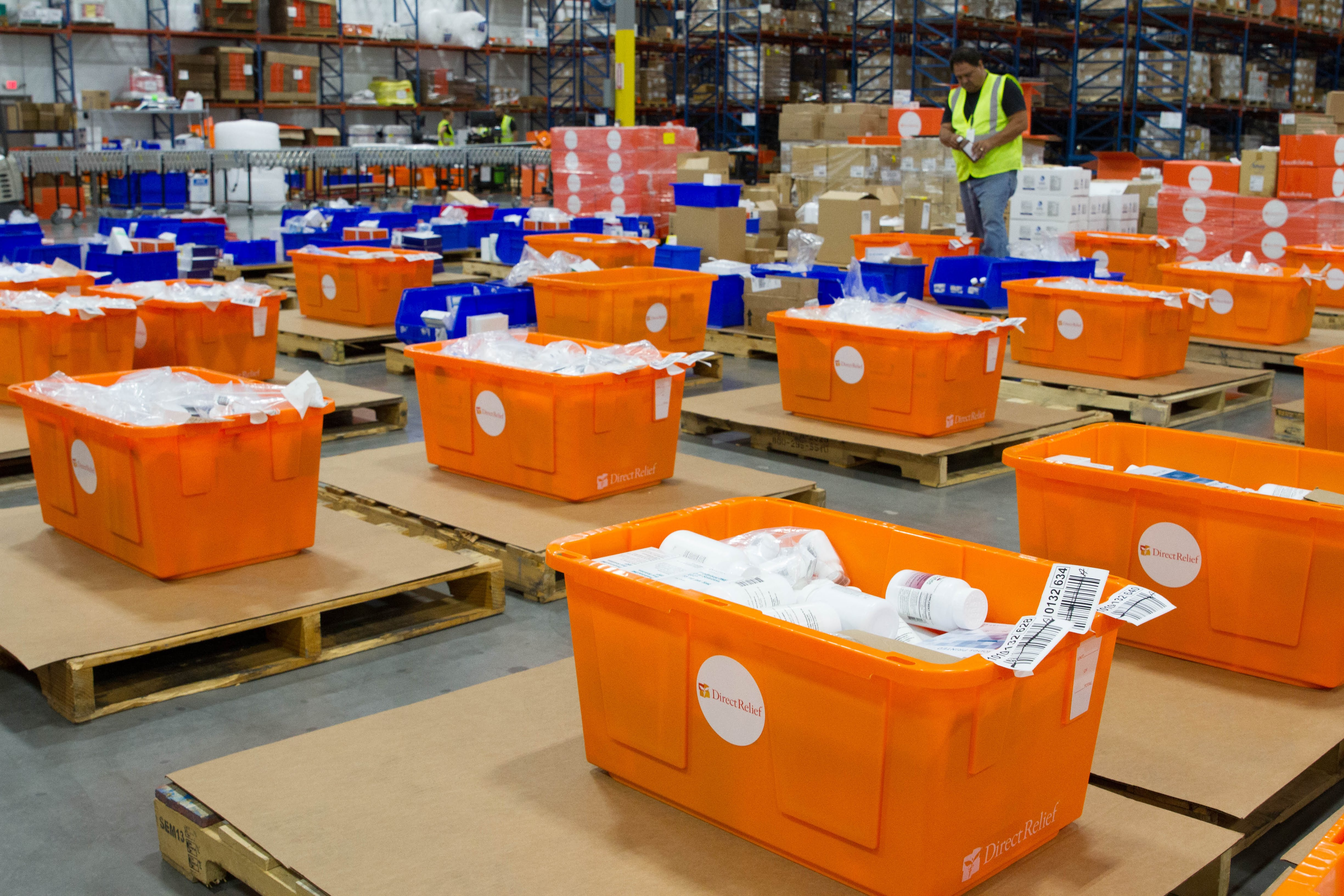 Hurricane Preparedness Packs are built inside Direct Relief's warehouse on August 1, 2018. The packs contain essential medicines and supplies and are prepositioned in hurricane and typhoon-prone areas around the world. (Lara Cooper/Direct Relief)