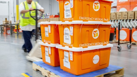 Emergency Medical Packs bound for Dunn, North Carolina, leave Direct Relief's warehouse Tuesday. Health centers and clinics in the area are still evaluating the damage in their communities from Hurricane Florence, which made landfall over the weekend. (Lara Cooper/Direct Relief)