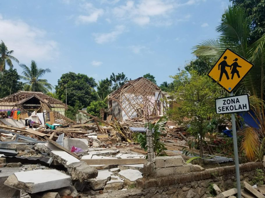 Collapsed buildings and infrastructure reveal the devastation caused by the 6.9-magnitude earthquake that rocked the Indonesian island of Lombok on August 5, 2018. Direct Relief staff visited the area days after the quake to assess the situation and offer support to local partners responding to those in need. (Gordon Wilcock/Direct Relief)