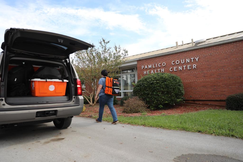 Emergency medicines are delivered to Hope Clinic, located inside the Pamlico County Health Center. The center plans to do medical outreach to shelters where people are staying. (Photo by Mark Semegen for Direct Relief)