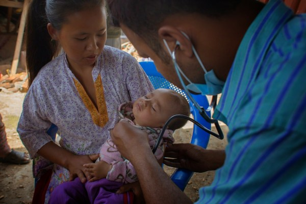 Child Receives Care After Nepal Earthquake