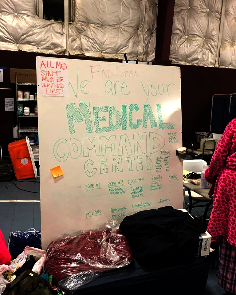 A gymnasium was quickly transformed into a hospital after Paradise's main medical facility was damaged by the Camp Fire. (Photo courtesy of Birgitte Gundersen)