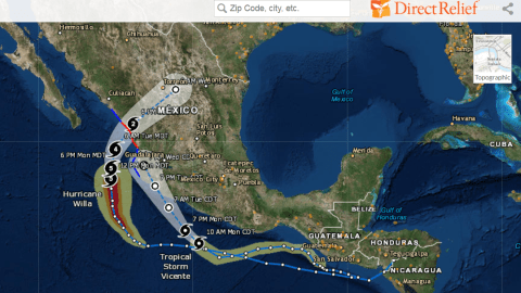 Track Hurricane Willa's path by clicking the map above. (Direct Relief map)