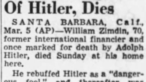 William Zimdin's obituary, Associated Press, March 6, 1951.