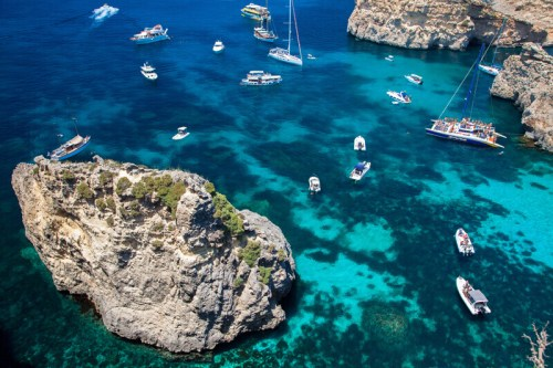 Luxury Yachts At Blue Lagoon in Comino